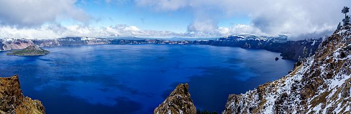 Crater Lake Snowy Panorama