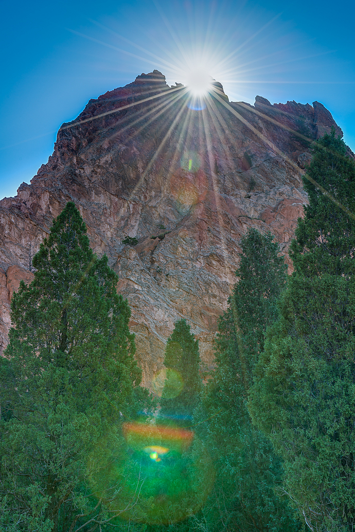 Sunburst at the Garden of the Gods in Colorado Springs