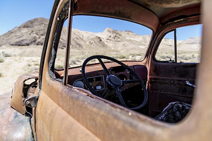 Junker Car in the Desert at Rhyolite Ghost Town