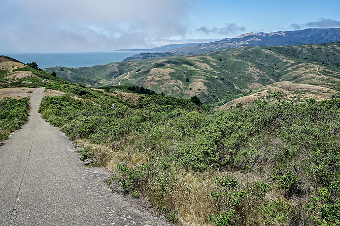 Marin Headlands Hills and Valleys with Pacific Ocean Backdrop