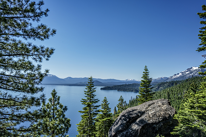 Snow-Capped Mountains Encircle Lake Tahoe