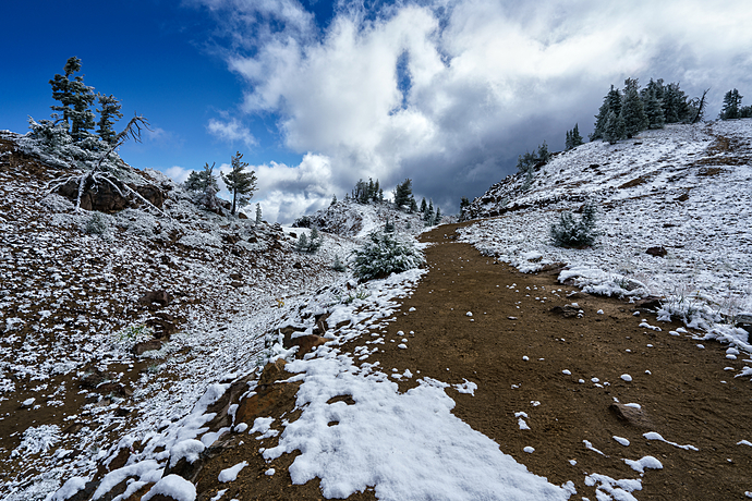 Snowy Ascent of Garfield Peak Trail at Crater Lake National Park