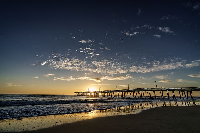 Sun Peeks above Virginia Beach Fishing Pier