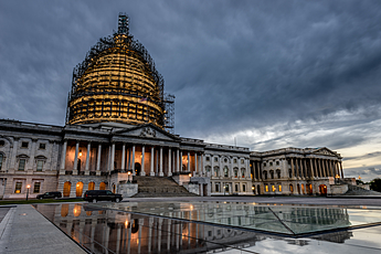 Capitol Building with moody clouds