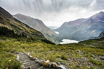 Descent down Grinnell Trail in Many Glacier at Glacier National Park