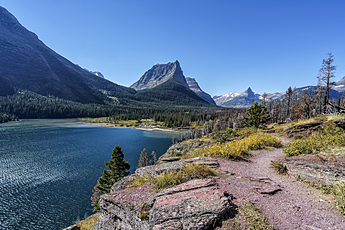 Dusty Star Mountain Towers over Saint Mary Lake in Glacier National Park