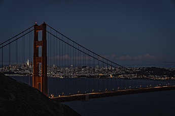 Golden Gate Bridge at Night with San Francisco in Background