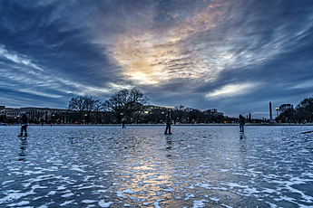 Icy Capitol Reflecting Pool under Gorgeous Sunset