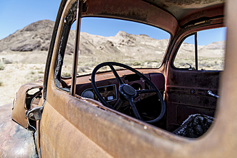 Junker Car in the Desert at Rhyolite Ghost Town