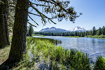 Lassen Peak behind Manzanita Lake at Lassen Volcanic National Park