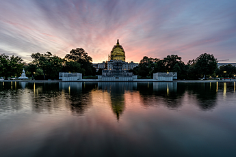 Pink sunrise at the Capitol Building