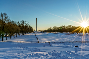 National Mall as the sun rises the morning after Snowzilla