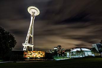 Space Needle Towers above Seattle Center and Pacific Science Center at Night.jpg