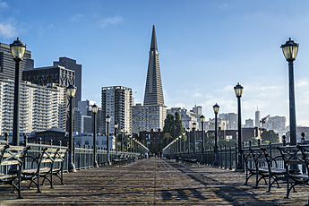 Transamerica Pyramid Looms above Pier 7 on the Embarcadero in San Francisco