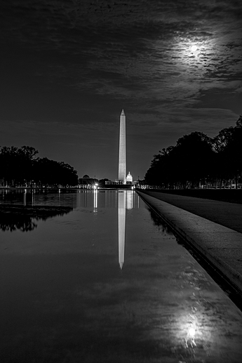 Washington Monument Mirrored in Reflecting Pool at Night