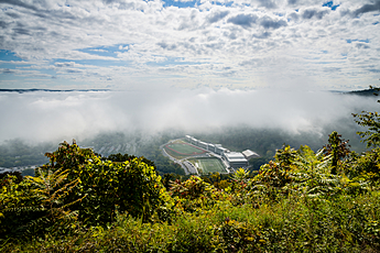 West Point football field in the cradle of clouds and fog